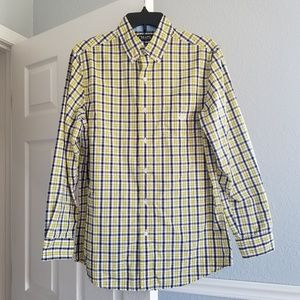 Chaps Yellow & Navy Plaid Button Down Small
